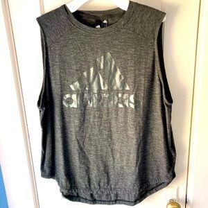 Adidas sleeveless hi lo grey tee size XL